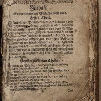První strana knihy (obsah) před restaurováním